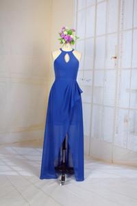Royal Blue Halter breve damigella d'onore semplice Prom Dress con foro chiave Cocktail Party Dresses corto abito da damigella