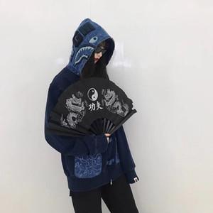 18FW APE İNDİGO SHARK Ceket Çin Tarzı Tang Ceket Erkekler Moda Coat Hip Hop Fermuar Ceket Yeni Stil HFLSWY225