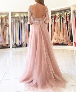 Latest Stylish Blush Pink Split Long Prom Dresses Sheer Neck 3 4 Long Sleeves Backless Appliques Lace Bridesmaids Evening Gowns