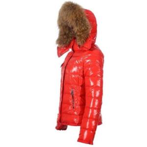 Франция Престижное пуховик пальто зимы женщин Верхняя одежда вниз пальто Тонкий ветровки куртки енота меховой воротник пуховик теплая зима Пальто