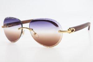 2020 도매 무테 우드 선글라스 8200765 남여 안경 쉴드 고품질 C 장식 타원형 18K GOLD 선글라스 남성 여성