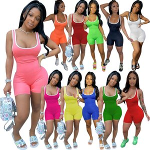 Summer 2020 Plus size Women solid color jumpsuits casual mini onesie sleeveless rompers sports overalls summer clothing skinny mini one piec