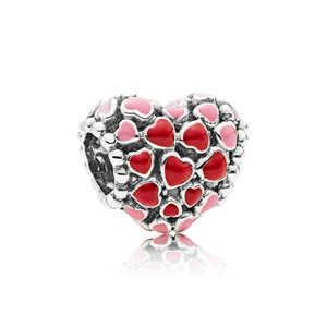 Authentique argent Sterling 925 émail rouge Love Heart Charms Boîte originale pour Pandora European Bead Charms Bracelet fabrication d'accessoires