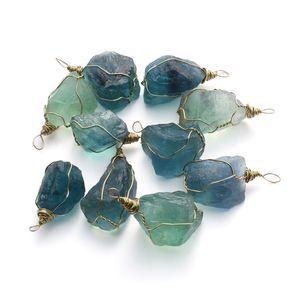 1 Pcs 2.5-3cm Natural Blue fluorite cristallo di quarzo ciondolo collana pietra guarigione pietra preziosa Home Decor C19041101