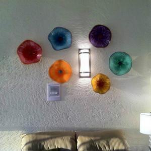 Lámparas abstractas de buena calidad Luz de flores de cristal de Murano de Murano para la decoración para el hogar Placas colgantes de colores Arte de la pared