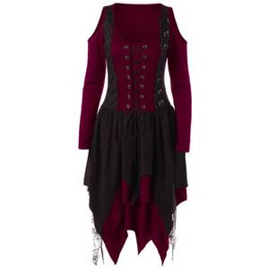 Gótica de la vendimia de la mujer del vendaje de la tarde del partido del renacimiento medieval Vestido de encaje del hombro Disfraces de Halloween irregular