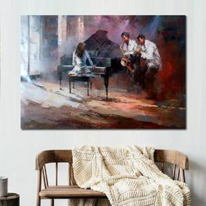 Extracto moderno bailarines pintura Música de pinturas de Willem Haenraets aceite pintado a mano de obra música de jazz decoración del hogar del cuadro