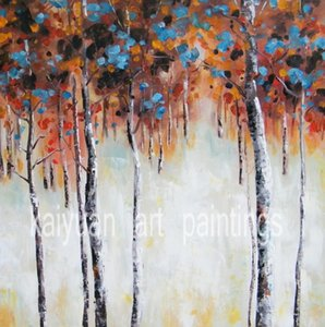 Modern Decorated Oil Painting on Canvas Square Size Trees Scenery Art in Living Room or Bedroom Hand Painted No Frame