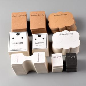 50PCS Blank gioielli della carta kraft carta del pacchetto strumenti per la visualizzazione orecchini collana girocollo Label Tag all'ingrosso Packaging Accessori fai da te