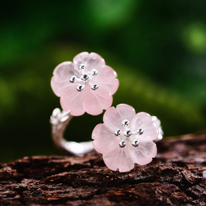 Kadınlar Bijoux için Yağmur Yüzüklerin Lotus Eğlence Gerçek 925 Gümüş Doğal Kristal Yüzük El Yapımı Güzel Takı Çiçek