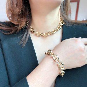 Accessori Simple Punk Collo corto Femminile Esagerato Gold Braccialetto a catena a catena Bracciale Bracciale