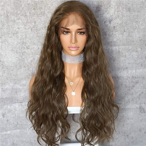 Dark Brown Color Curly Style No-Tangle Natural Hairline Deep Freedom Part Daily Makeup Women Synthetic Lace Front Wigs for Women 24inch