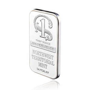 999 Fine Quality Silver Plated Metal Bar Northwest Territorial Mint Bullion Bar Silver Coin for Home Collection Souvenir