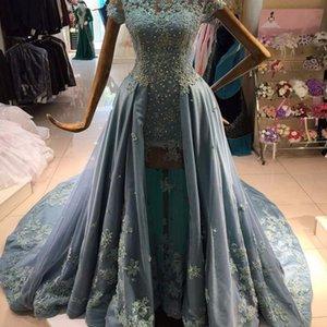 2021 Бальное платье Сексуальная Элегантная Женщина Синее Бальное платье Выпускные Платья Плюс Размер Длинные Мусульманские Арабские Вечерние Платья Официальное Платье
