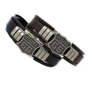 ROUTE 66 Rivet Charm Bracelets Punk Retro Pulseras de cuero de múltiples capas para hombres, mujeres personalizar brazaletes de puño joyería regalos 2color