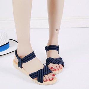 Sıcak Satış-Kadın Fashion2019 Balık Ağız Katı Renk Elastik Roma Will Kod Sandalet