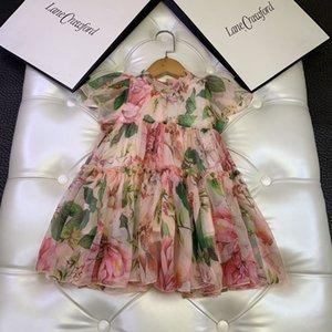 El diseñador de moda vestido de las muchachas de la impresión floral del bebé vestidos de niña infantil princesa vestido de tul 2020 niños calientes de los niños ropa 2-9y