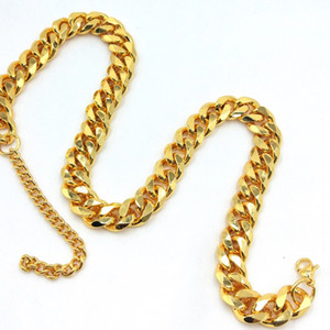 Cachorro suprimentos cão corrente de ouro colar de 10 mm de largura Curb cubana cadeia de aço inoxidável atacado pet jóias