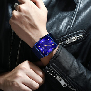 NIBOSI Mann-Uhr-Rechteck Schwarz Gold Edelstahl Wasserdicht Luxus-Quarz-Uhr Wasserdicht Analog Relogio Masculino