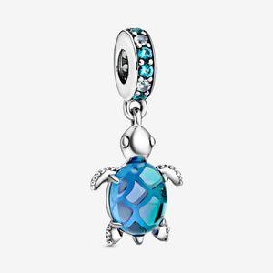 Neue Ankunfts-925 Sterlingsilber Murano Glas Meeresschildkröte baumeln Charme Fit Original-europäischen Charme-Armband Modeschmuck Accessoires
