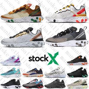 Nike react element 87 Estabilidade Running Shoes preto branco athletic ao ar livre Esportes sapatos de Jogging trainer velocidade mulheres sapato frete grátis