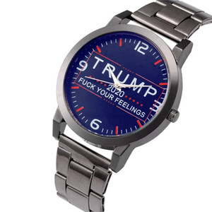 Trump 2020 Kuvars İzle Simli Paslanmaz Çelik Watchband Donald Trump Kadın Erkek Retro Bilek Saatler Saat Parti Favor LJJA4142N