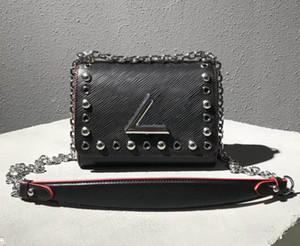 فاخر مصمم رصع اللوحة سلسلة حقيبة يد البسيطة الصغيرة والمسامير حقيبة روكي حقيبة جلدية اصلية حقيبة كبيرة رسالة قفل الثقوب مثقوبة