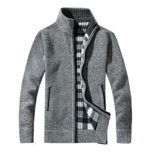 Los nuevos Mens Zip Escudo aislada termal caliente de la manera lana forrada de punto Cardigan Cardigan Jumper regalo Hasta