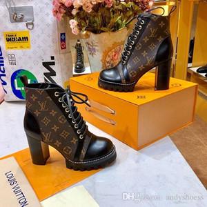 Frauen-Schnürstiefel Mode Luxus Frauen Stiefel hohe Qualität Lace-up Ankle Boot mit Leder und schweren Sohlen Freizeit Dame Martin Stiefel