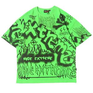 Harajuku pintada camiseta para hombre de la camiseta de manga corta de Hip Hop de Calle Casual Ropa de moda Hipster 2020 la nueva camiseta de algodón