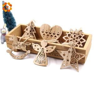 Flocos de neve europeus Natal pingentes de ornamento de madeira para decoração de festa de Natal do ornamento da árvore de Natal caçoa o presente