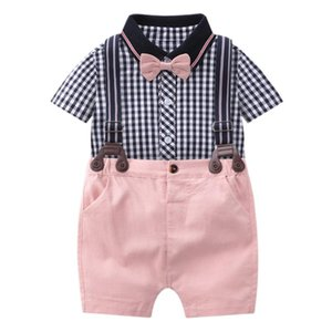 Baby Newborn Children Clothes Suit Fashion Boys Plaid Romper + Pink Short Overalls 2 Piece Set Cotton Baby Birthday Clothing