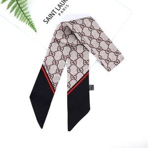 New European and American monogram printed silk scarf women's long long small scarf bag silk scarf ribbon