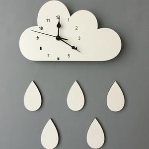 28 * 16cm Mur de Cloud en bois nordique Shaped Horloge Enfants Chambre Décor Sexe bébé neutre Horloge murale Nursery Cadeau 1piece Y200110