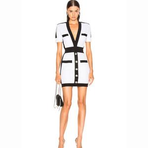 Alta calidad sexy vestidos de la pista de colores patchwork v cuello manga corta slim bodycon mujeres flacas dress p789