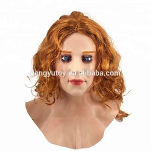 2019 Новая мода Хэллоуин Latex Женщины Crossdress маска для лица Real Scarlet Женский женщина лицо Кроссдрессинг Сисси маска Fancy одеваются