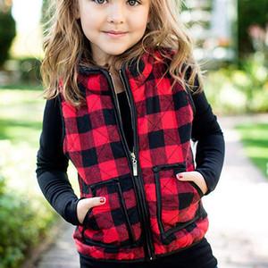 Überprüfen Ärmel Jacke Kids Plaid-Weste mit Taschen Mädchen Warm Reißverschluss Outwear Weste Tank Herbst-Winter-Mantel LJJA3671-11