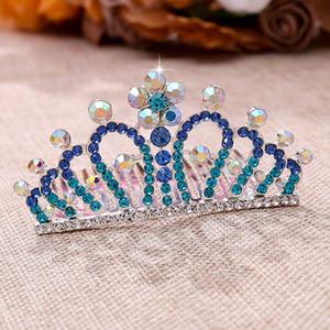 Joyería y accesorios FORSEVEN Coloful cristalino brillante del pelo Peines Pequeño tiaras del pelo mini mujeres fiesta de cumpleaños de niños Coronas