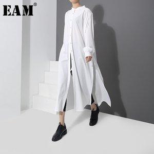 [eam] 2019 frühjahr neue mode neue muster lange typ seitentlüftungsknopf shirt langarm temperament bluse frauen yc170