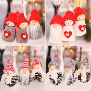 Decoraciones de Navidad 3pcs / set Santa Claus muñeco de nieve que cuelga de la ventana Ornamentos del cono del pino de Navidad colgante de la muñeca de los niños del partido Inicio regalos WX9-1653