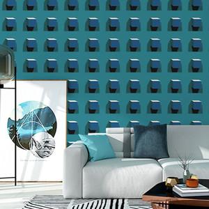 Bleu et noir abstraite moderne géométrique papier peint Triangles Motif mur Papiers Accueil DÉCORATION Salon Chambre