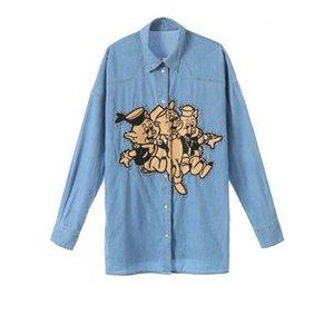 Fashion-2019 New Women Tops Denim Shirt Long Sleeve Embroidery Three Little Pig Loose Jacket Long Thin Womens Designer Clothing