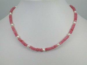 bella 2x4mm rosa giada 4-5mm bianco d'acqua dolce collana di perle coltivate fatti a mano lungo 45 centimetri 4pc / lot