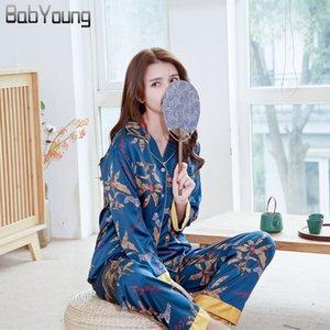 BabYoung verano pijama de satén de seda pijamas de las mujeres conjunto de patrones Pijamas Mujer cebra Femme manga larga ropa de dormir Mujer Homewear