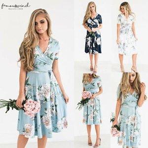 2020 Womens Boho Chiffon Midi Casual Printed Dresses Evening Party Beach Dress Floral Sundress Drop Shipping