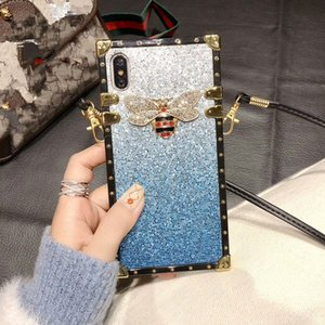 Bling Rhinestone Famous Letters Designer Luxury Phone Case para iPhone X XR XS Max 8 7 6 6s Plus S9 S10 plus Soft Shell Skin Hull + String 508