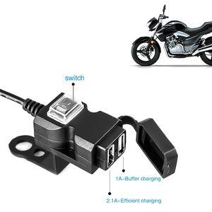 De doble puerto USB 12V impermeable moto manillar de la motocicleta del cargador 5V 1A / 2.1A adaptador para enchufes de alimentación para el teléfono móvil