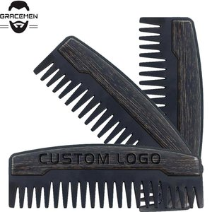 MOQ 100 pcs for Amazon Preminum Custom LOGO Hair Comb Wide Teeth Metal & Wooden Beard Comb Oil Hair Combs for Gentelmen