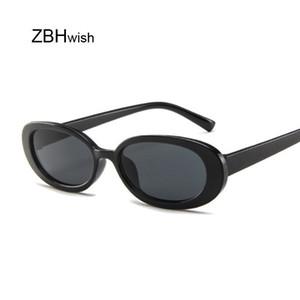 Estilo Oval Óculos De Sol Das Mulheres Retro Vintage Frame Redondo Branco Dos Homens Óculos de Sol Feminino Preto Hip Hop Óculos Claros Uv400