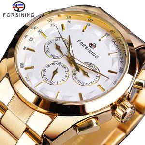 Forsining Altın Erkekler Mekanik İzle Moda 3 Çevirme Takvim Çelik Bant İş Gentleman Otomatik Saatler Saat Montre Homme